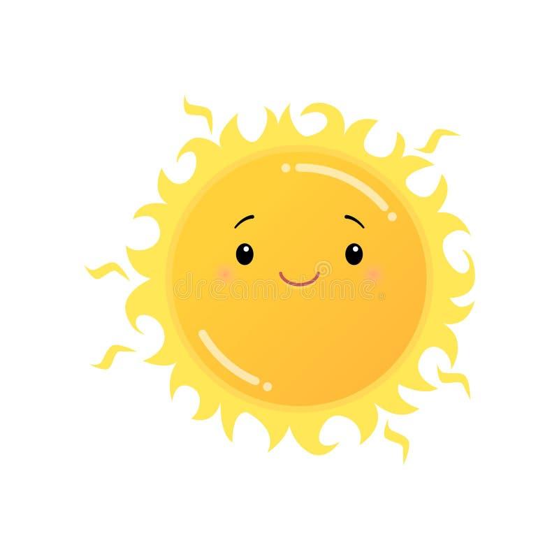 Την κίτρινη αυτοκόλλητη ετικέττα emoji ήλιων που απομονώνεται χαμογελώντας στο λευκό απεικόνιση αποθεμάτων