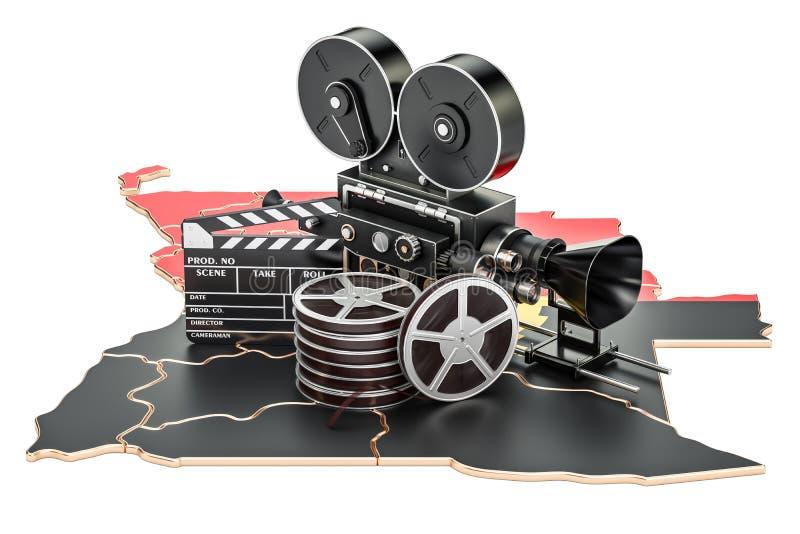 Της Αγκόλα κινηματογραφία, έννοια βιομηχανίας κινηματογράφου τρισδιάστατη απόδοση ελεύθερη απεικόνιση δικαιώματος