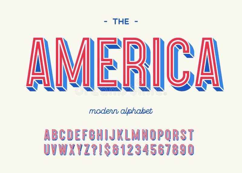 Της Αμερικής σύγχρονο ζωηρόχρωμο ύφος τυπογραφίας αλφάβητου τρισδιάστατο ελεύθερη απεικόνιση δικαιώματος
