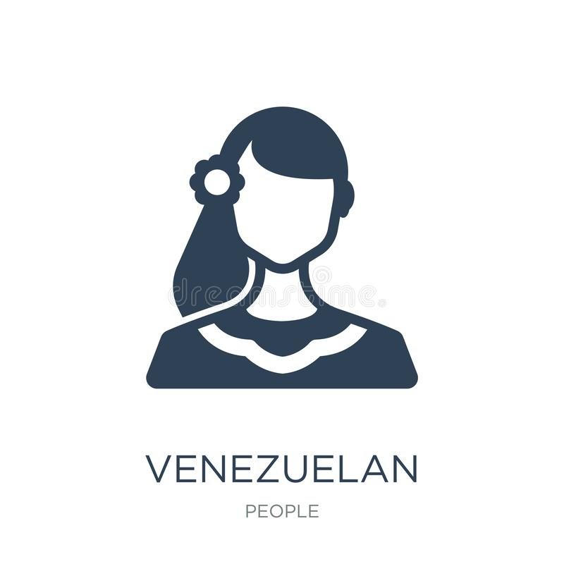 της Βενεζουέλας εικονίδιο στο καθιερώνον τη μόδα ύφος σχεδίου της Βενεζουέλας εικονίδιο που απομονώνεται στο άσπρο υπόβαθρο της Β απεικόνιση αποθεμάτων