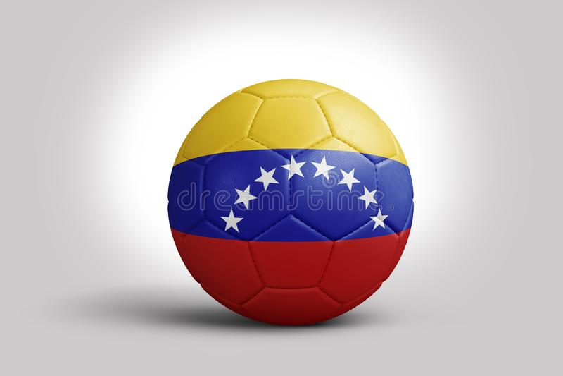 Της Βενεζουέλας σημαία στη σφαίρα, τρισδιάστατη απόδοση Σφαίρα ποδοσφαίρου στην τρισδιάστατη απεικόνιση ελεύθερη απεικόνιση δικαιώματος