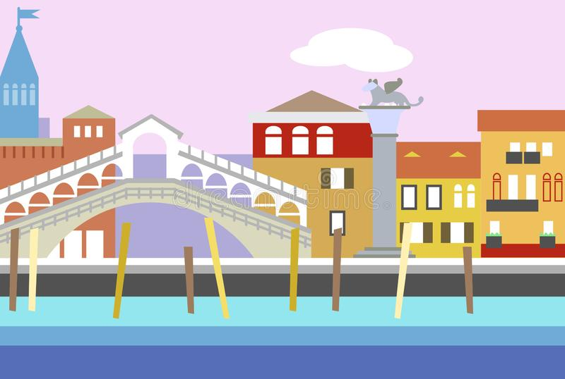 Της Βενετίας διανυσματική απεικόνιση ύφους πόλεων ζωηρόχρωμη επίπεδη Εικονική παράσταση πόλης με το ανάχωμα και τα κτήρια Σύνθεση ελεύθερη απεικόνιση δικαιώματος