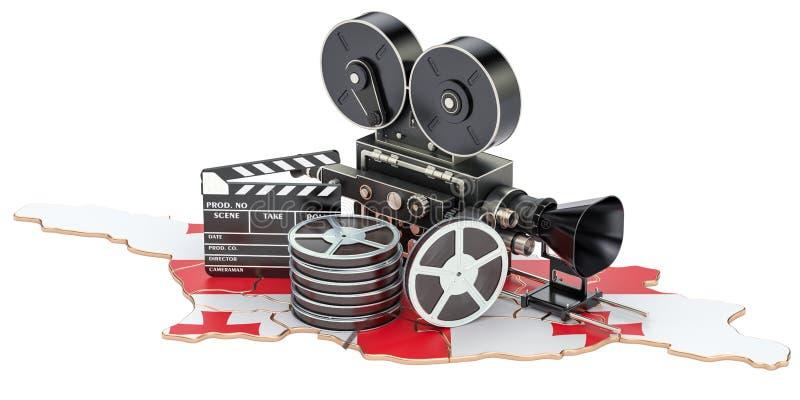 Της Γεωργίας κινηματογραφία, έννοια βιομηχανίας κινηματογράφου τρισδιάστατη απόδοση ελεύθερη απεικόνιση δικαιώματος