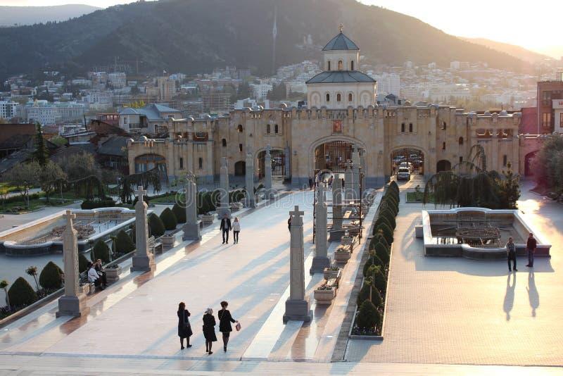 Της Γεωργίας κύριο λούσιμο στις ακτίνες του ήλιου ρύθμισης στοκ εικόνες