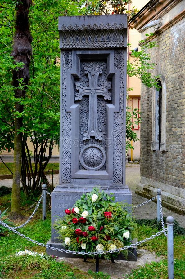 Της Γεωργίας μνημείο Ορθόδοξων Εκκλησιών με crucifix το διαγώνιο τ σημάδι νεκρό Batumi Γεωργία στοκ φωτογραφίες
