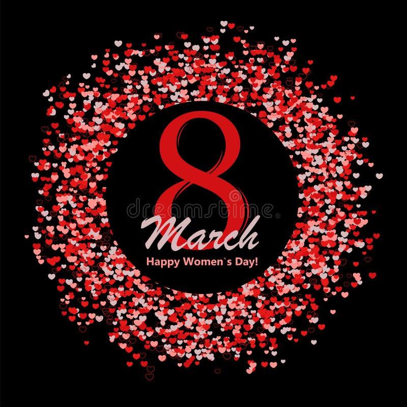 8 της ευχετήριας κάρτας Μαρτίου με την εγγραφή και του κύκλου φιαγμένου από πολλές καρδιές απεικόνιση αποθεμάτων