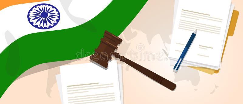Της Ινδίας νόμου δοκιμαστική έννοια νομοθεσίας δικαιοσύνης κρίσης συνταγμάτων νομική που χρησιμοποιεί gavel σημαιών το έγγραφο κα διανυσματική απεικόνιση