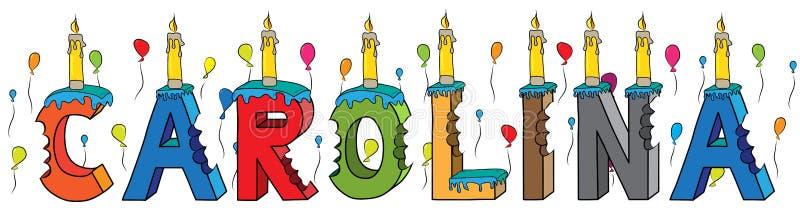 Της Καρολίνας θηλυκό κέικ γενεθλίων ονόματος δαγκωμένο ζωηρόχρωμο τρισδιάστατο γράφοντας με τα κεριά και τα μπαλόνια ελεύθερη απεικόνιση δικαιώματος