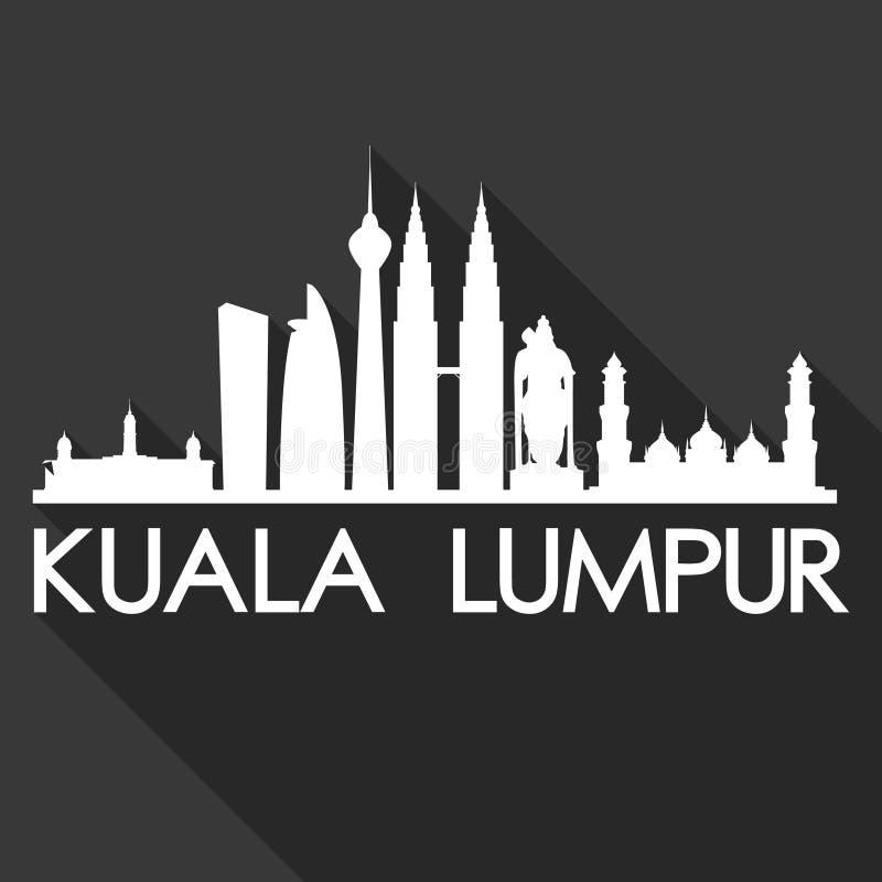 Της Κουάλα Λουμπούρ Μαλαισία Ασία εικονιδίων διανυσματικό μαύρο υπόβαθρο σκιαγραφιών πόλεων οριζόντων σχεδίου σκιών τέχνης επίπεδ διανυσματική απεικόνιση