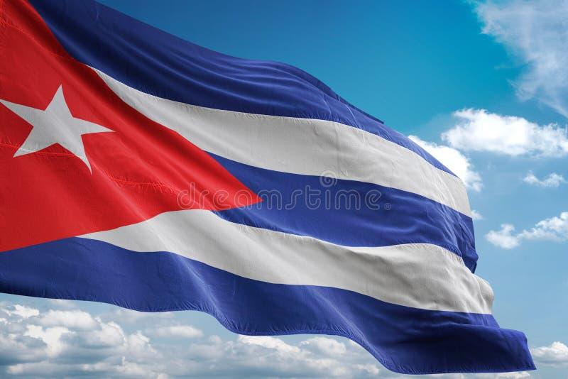 Της Κούβας ρεαλιστική τρισδιάστατη απεικόνιση υποβάθρου μπλε ουρανού εθνικών σημαιών κυματίζοντας απεικόνιση αποθεμάτων