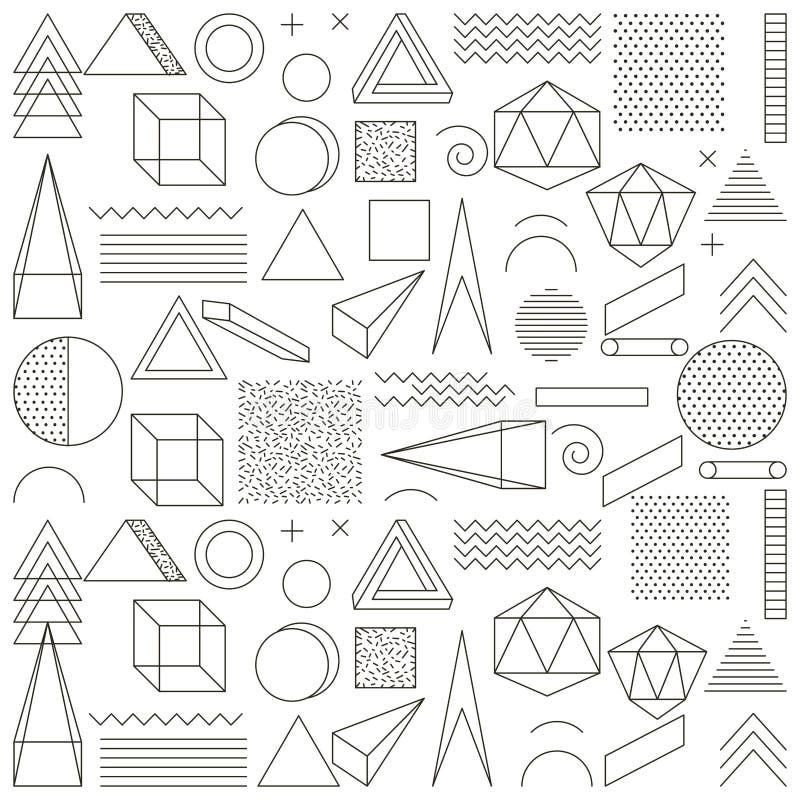Της Μέμφιδας ύφους άνευ ραφής περίληψη εικονιδίων σχεδίων γεωμετρική απεικόνιση αποθεμάτων