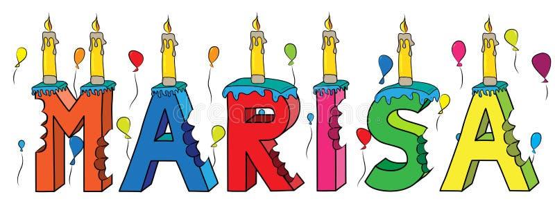 Της Μαρίζα θηλυκό κέικ γενεθλίων ονόματος δαγκωμένο ζωηρόχρωμο τρισδιάστατο γράφοντας με τα κεριά και τα μπαλόνια απεικόνιση αποθεμάτων