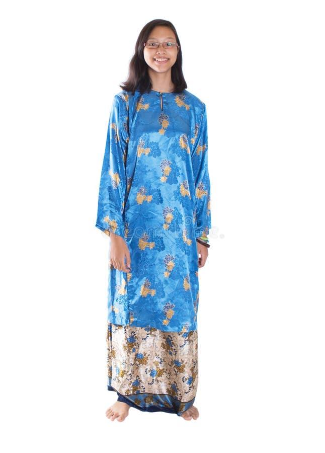 Της Μαλαισίας κορίτσι εφήβων στο παραδοσιακό φόρεμα Ι στοκ εικόνα με δικαίωμα ελεύθερης χρήσης