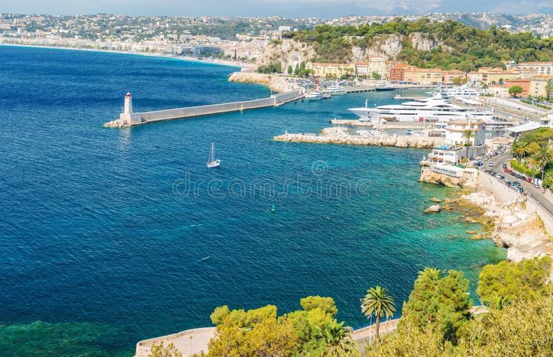 Της Νίκαιας πόλεων γαλλικός riviera φοίνικας Μεσογείων της Γαλλίας μπλε στοκ φωτογραφία με δικαίωμα ελεύθερης χρήσης