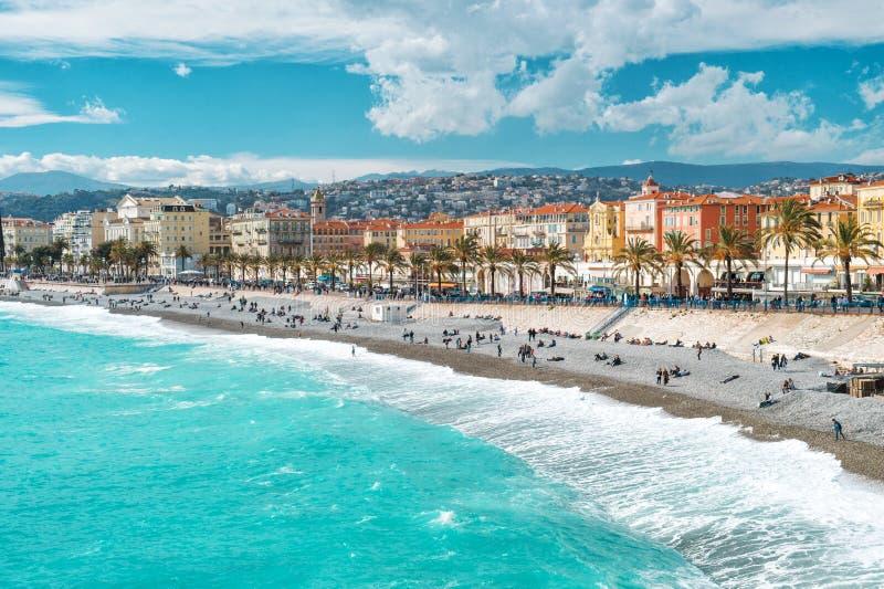 Της Νίκαιας πόλεων περιπάτων Μεσόγειος riviera Anglais γαλλική στοκ φωτογραφία με δικαίωμα ελεύθερης χρήσης