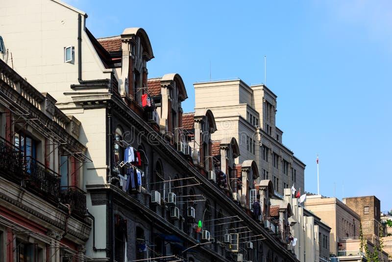 Της Σαγκάη ευρωπαϊκή άποψη προσόψεων οικοδόμησης κληρονομιάς παλαιά στοκ εικόνες