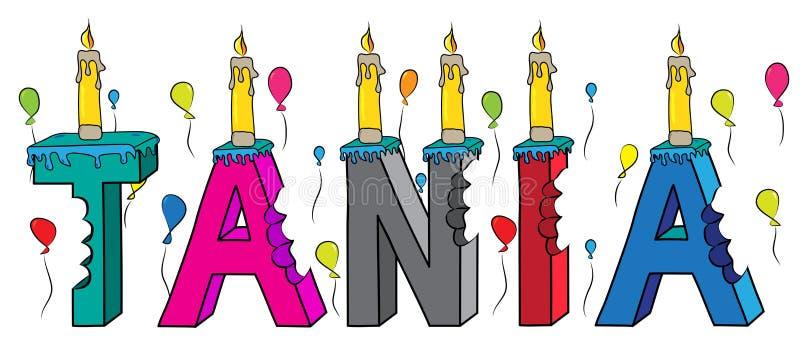 Της ΤΑΝΙΑ θηλυκό κέικ γενεθλίων ονόματος δαγκωμένο ζωηρόχρωμο τρισδιάστατο γράφοντας με τα κεριά και τα μπαλόνια διανυσματική απεικόνιση
