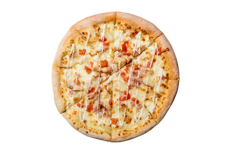 Της Χαβάης πίτσα που απομονώνεται σε ένα άσπρο υπόβαθρο Πίτσα με το κρέας, το ζαμπόν, το πιπέρι και τον ανανά Τοπ όψη στοκ φωτογραφία με δικαίωμα ελεύθερης χρήσης