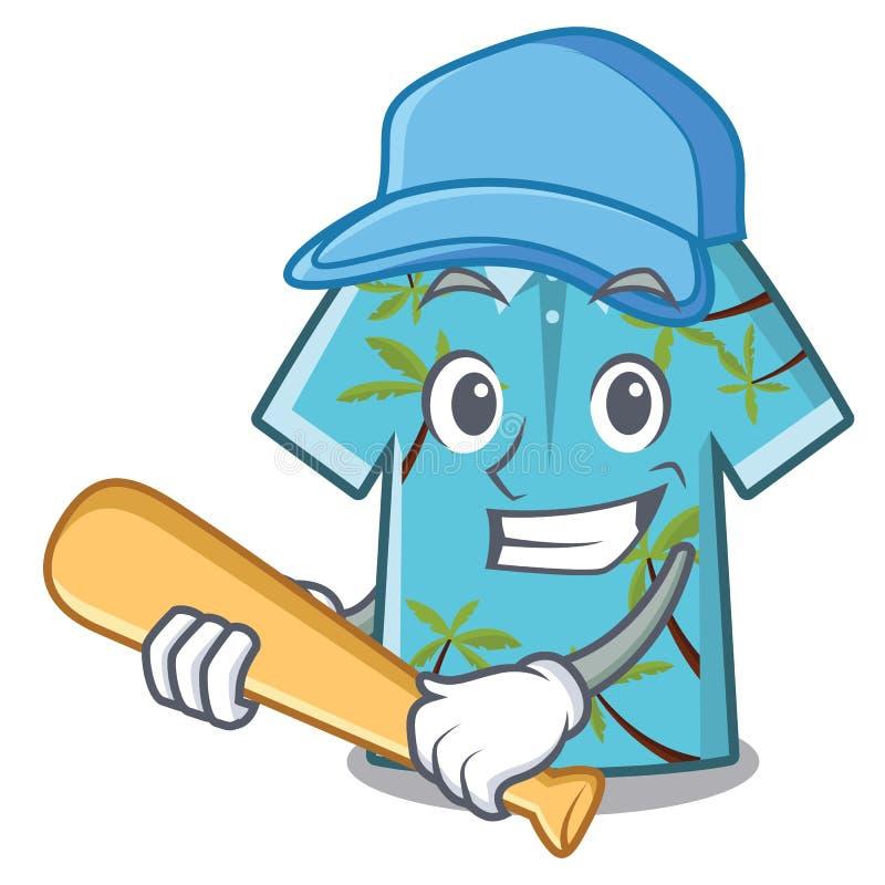 Της Χαβάης πουκάμισο μπέιζ-μπώλ παιχνιδιού στη μορφή μασκότ απεικόνιση αποθεμάτων