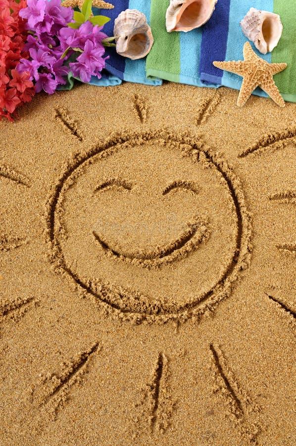 Της Χαβάης σκηνή παραλιών με το χαμόγελο του ήλιου στοκ εικόνες με δικαίωμα ελεύθερης χρήσης