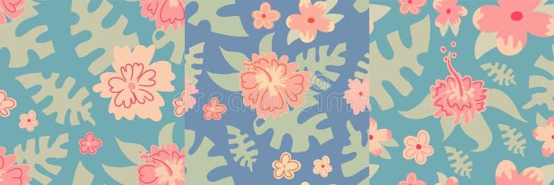 Της Χαβάης σχεδίων θερινού υποβάθρου τροπική διανυσματική τυπωμένη ύλη φύσης ταπετσαριών φύλλων απεικόνισης άνευ ραφής floral διανυσματική απεικόνιση