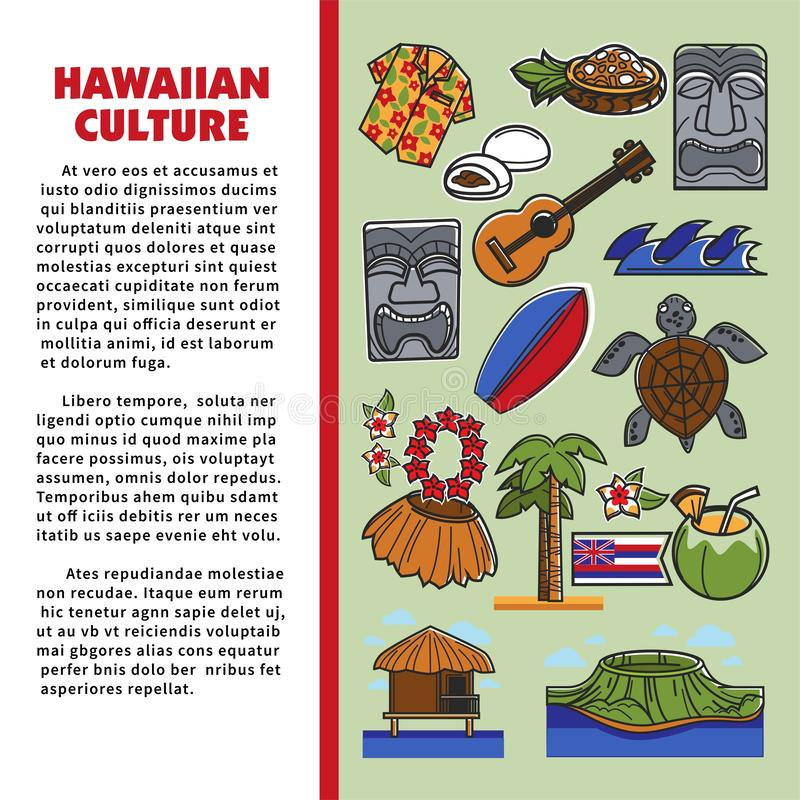 Της Χαβάης σύμβολα της Χαβάης παραθαλάσσιων θερέτρων τουρισμού με πολιτιστικό σκοπό ελεύθερη απεικόνιση δικαιώματος