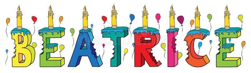 Της Beatrice θηλυκό κέικ γενεθλίων ονόματος δαγκωμένο ζωηρόχρωμο τρισδιάστατο γράφοντας με τα κεριά και τα μπαλόνια ελεύθερη απεικόνιση δικαιώματος