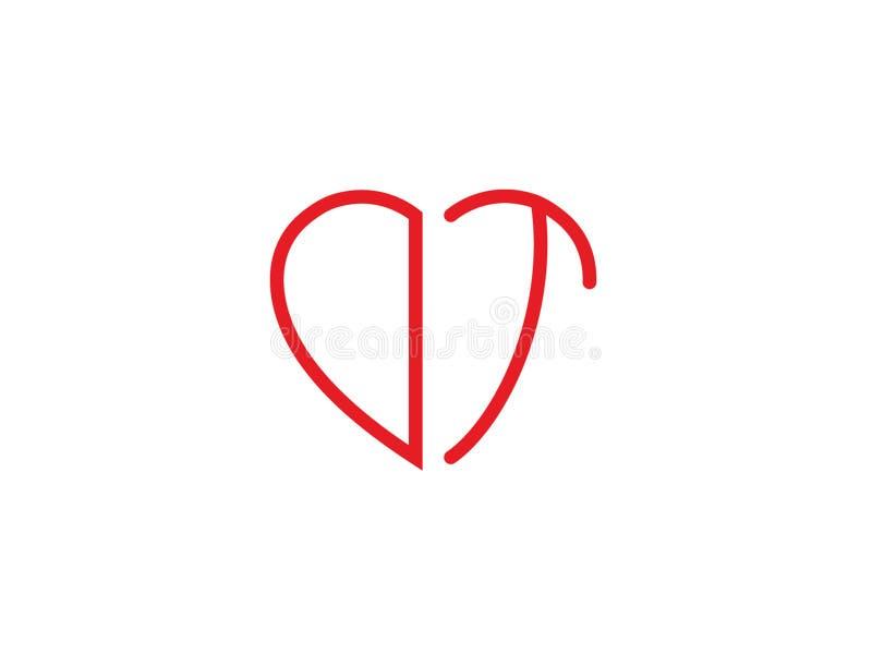 Της DT αρχικό καρδιών λογότυπο αγάπης μορφής κόκκινο χρωματισμένο ελεύθερη απεικόνιση δικαιώματος