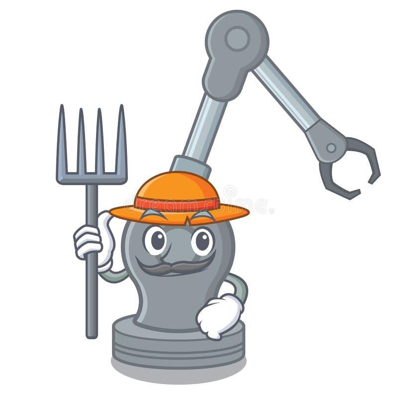 Της Farmer μηχανή βραχιόνων που απομονώνεται ρομποτική στο χαρακτήρα διανυσματική απεικόνιση