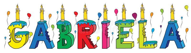 Της Gabriela θηλυκό κέικ γενεθλίων ονόματος δαγκωμένο ζωηρόχρωμο τρισδιάστατο γράφοντας με τα κεριά και τα μπαλόνια απεικόνιση αποθεμάτων