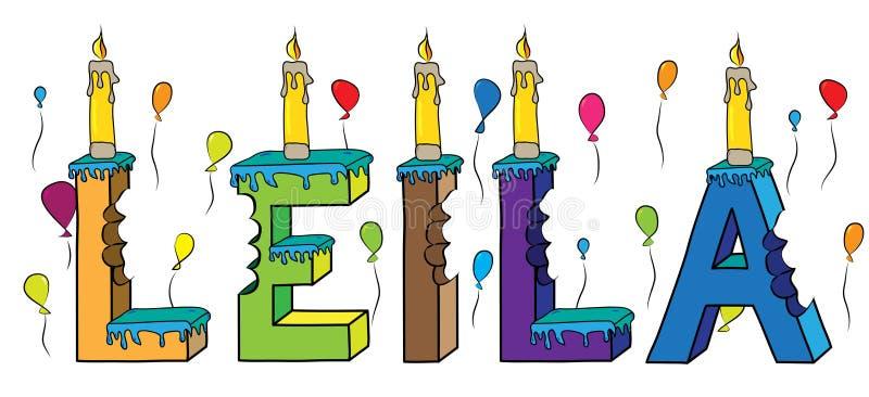 Της Leila θηλυκό κέικ γενεθλίων ονόματος δαγκωμένο ζωηρόχρωμο τρισδιάστατο γράφοντας με τα κεριά και τα μπαλόνια διανυσματική απεικόνιση