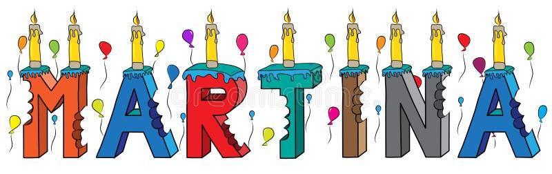 Της Martina θηλυκό κέικ γενεθλίων ονόματος δαγκωμένο ζωηρόχρωμο τρισδιάστατο γράφοντας με τα κεριά και τα μπαλόνια απεικόνιση αποθεμάτων