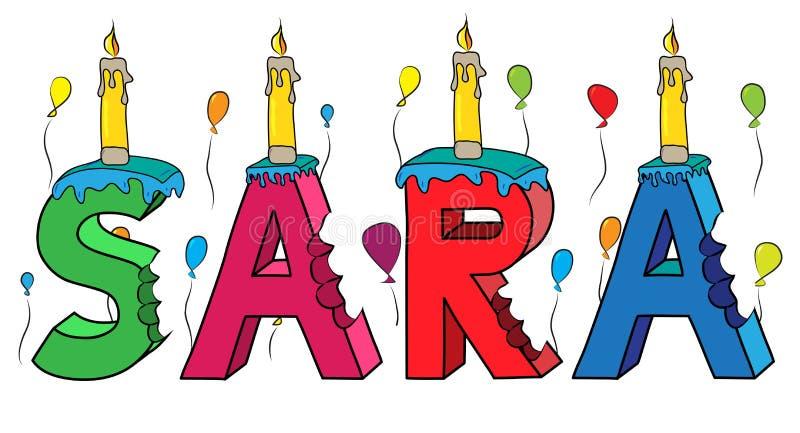 Της Sara θηλυκό κέικ γενεθλίων ονόματος δαγκωμένο ζωηρόχρωμο τρισδιάστατο γράφοντας με τα κεριά και τα μπαλόνια ελεύθερη απεικόνιση δικαιώματος