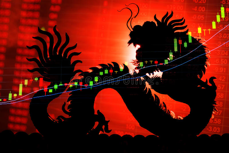 Τηλέτυπο γραφικών παραστάσεων χρηματιστηρίου της Κίνας στοκ φωτογραφία
