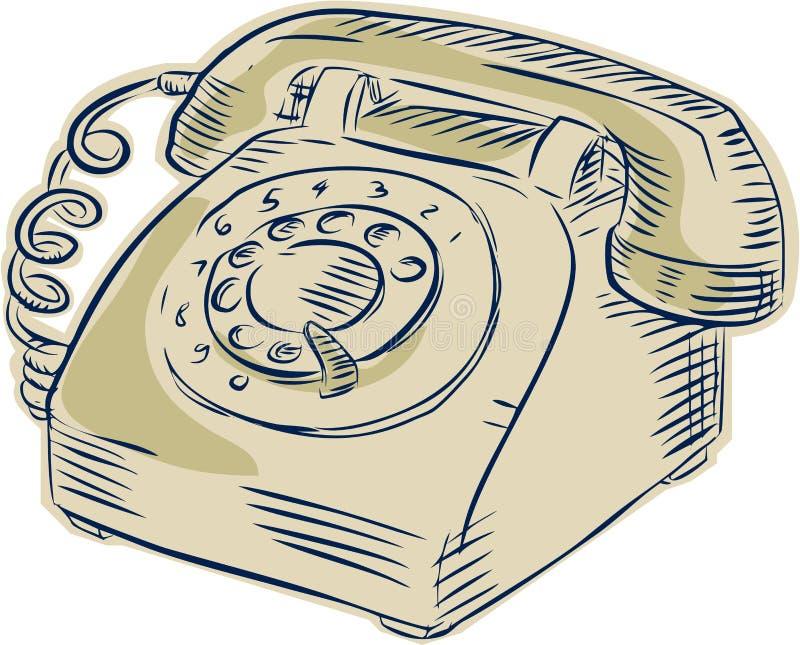 Τηλέφωνο εκλεκτής ποιότητας χαρακτική ελεύθερη απεικόνιση δικαιώματος