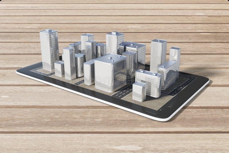 Τηλέφωνο κυττάρων με τα τρισδιάστατα κτήρια πόλεων σε έναν ξύλινο πίνακα, ναυσιπλοΐα απεικόνιση αποθεμάτων