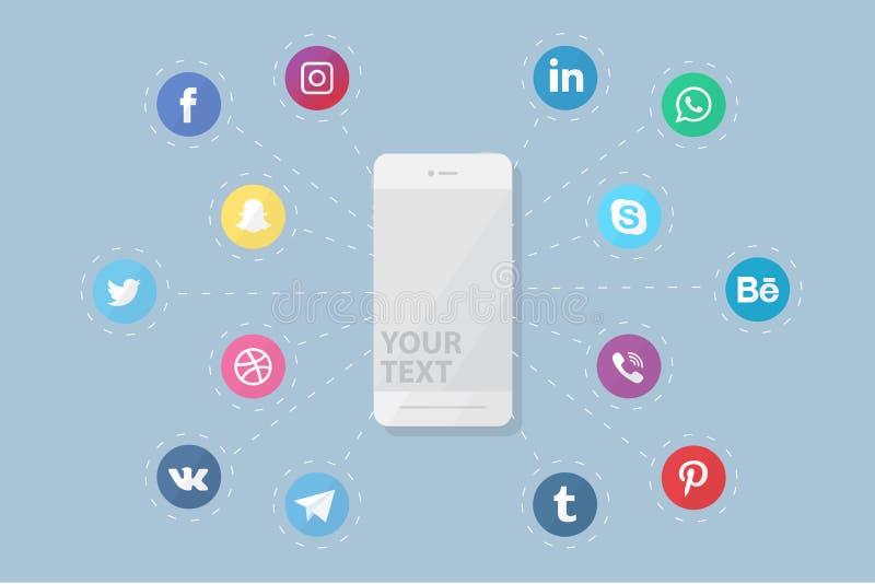 Τηλέφωνο με τα κοινωνικά λογότυπα μέσων απεικόνιση αποθεμάτων