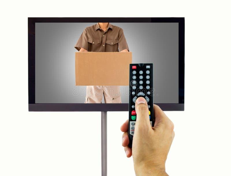Τηλεαγορά στη TV στοκ εικόνα