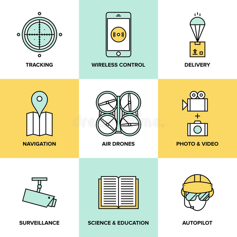 Τηλεκατευθυνόμενα εναέρια επίπεδα εικονίδια οχημάτων ελεύθερη απεικόνιση δικαιώματος