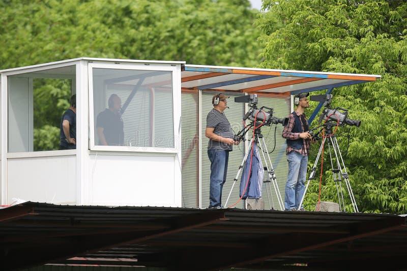 Τηλεοπτικά καμεραμάν στοκ εικόνες