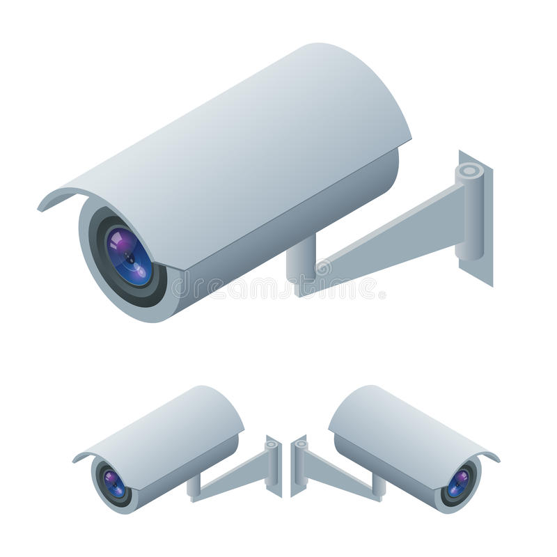 Τηλεοπτικά isometric επιτήρηση επιτήρησης και εικονίδιο καμερών CCTV Τηλεοπτική τηλεοπτική επιτήρηση απεικόνισης επιτήρησης τρισδ διανυσματική απεικόνιση