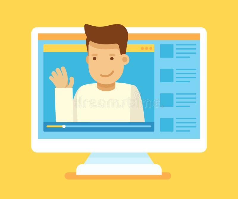 Τηλεοπτική έννοια blogger διανυσματική απεικόνιση