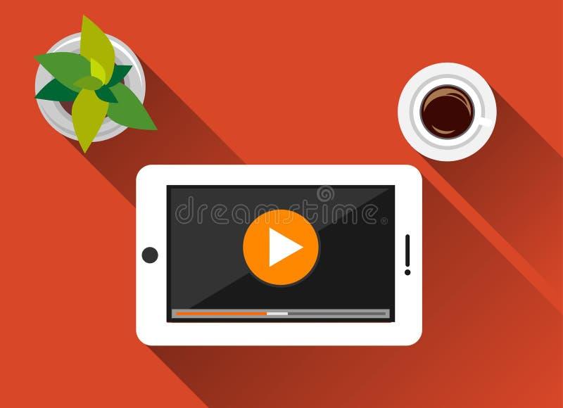Τηλεοπτικό επίπεδο σχέδιο απεικόνισης έννοιας ροής με τη μακριά σκιά Βίντεο προσοχής στην ταμπλέτα Κουμπί παιχνιδιού διανυσματική απεικόνιση