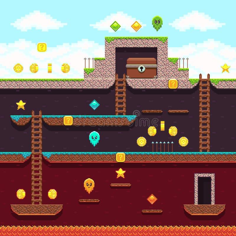 Τηλεοπτικό παιχνίδι εικονοκυττάρου υπολογιστών οκτάμπιτο Πλατφόρμα και arcade διανυσματικό σχέδιο απεικόνιση αποθεμάτων