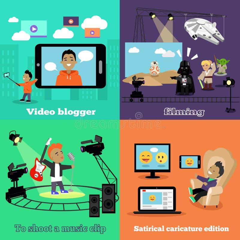 Τηλεοπτικό σχέδιο μαγνητοσκόπησης Blogger βιομηχανίας επίπεδο ελεύθερη απεικόνιση δικαιώματος