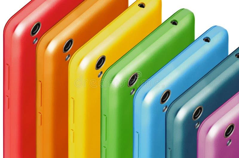 Τηλεφωνά στα χρώματα του ουράνιου τόξου στοκ φωτογραφία με δικαίωμα ελεύθερης χρήσης