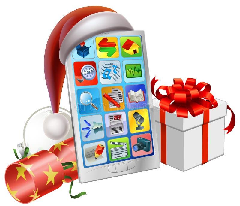 Τηλεφωνική απεικόνιση Χριστουγέννων διανυσματική απεικόνιση