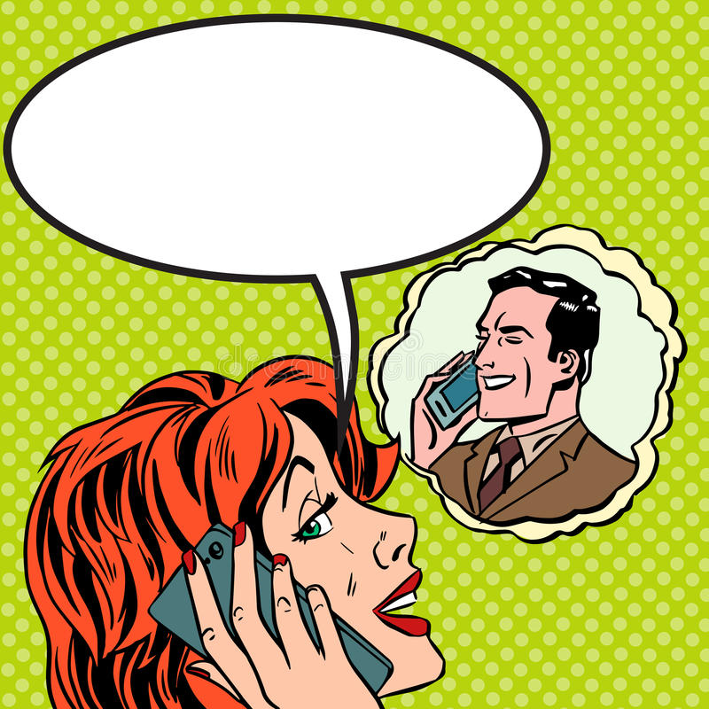 Τηλεφωνική συζήτηση ανδρών γυναικών λαϊκός τρύγος τέχνης κωμικός ελεύθερη απεικόνιση δικαιώματος