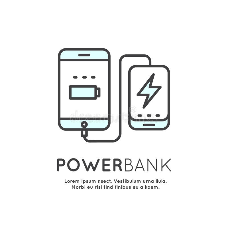 Τηλεφωνικός φορτιστής μπαταριών τράπεζας δύναμης ελεύθερη απεικόνιση δικαιώματος