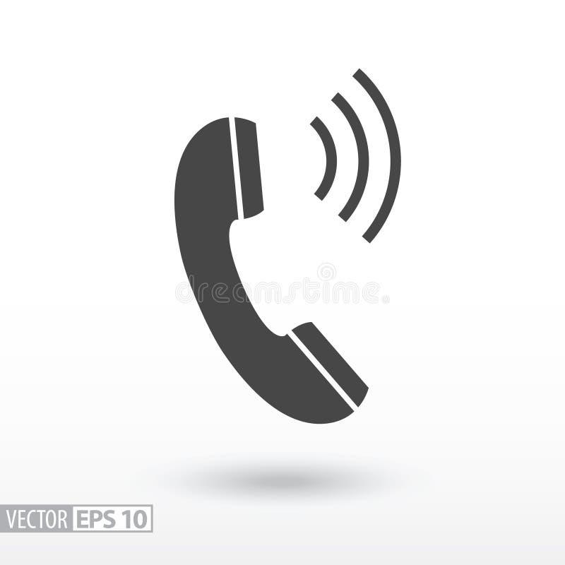 Τηλεφωνικό επίπεδο εικονίδιο Τηλέφωνο σημαδιών Διανυσματικό λογότυπο για το σχέδιο, κινητός και το infographics Ιστού ελεύθερη απεικόνιση δικαιώματος